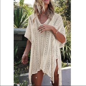 Other - ✨Beige Crochet Longline Coverup✨OS✨